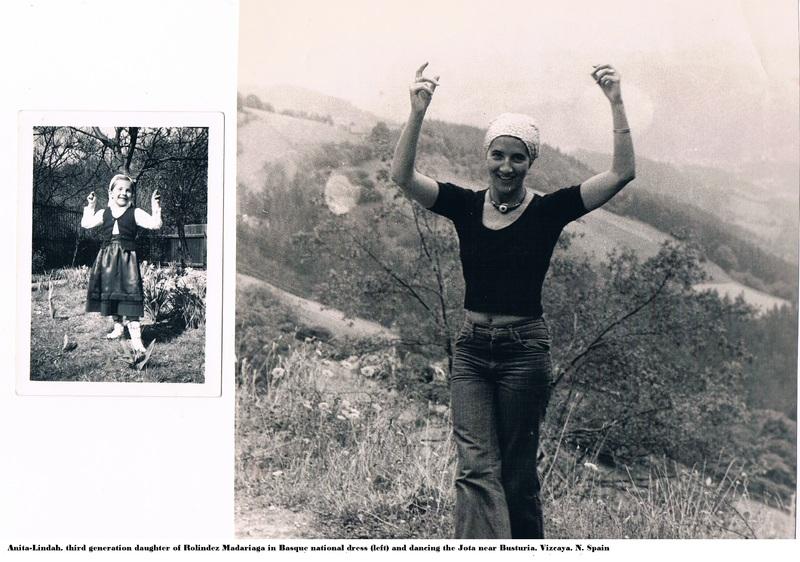 Anita-Lindah, third generation. Daughter of Rolindez Madariaga;  in Basque national dress and dancing the Jota near Busturia, Vizcaya, N Spain.jpg