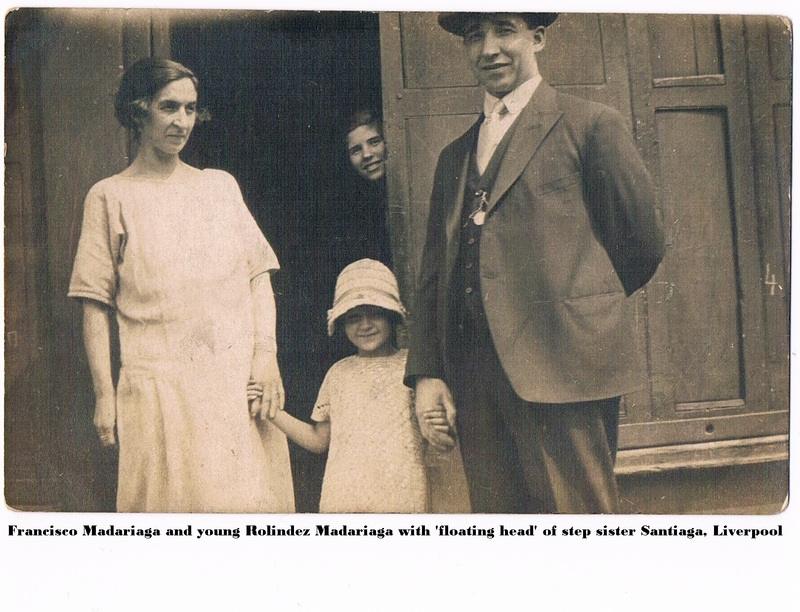 Francisco Anastasia and young Rolindez Madariaga with 'floating head' of step-sister Santiaga. Liverpool..jpg