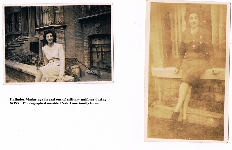 Rolindez Madariage in and out of military uniform during  WW2. Photographed out side Park Lane family home..jpg