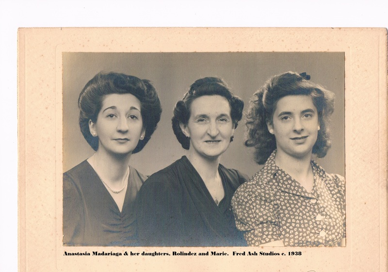 Anastasia Madariaga with her daughters, Rolindez (left) and Marie. Fred Ash Studios circa 1938.jpg