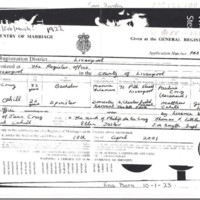 Marriage certificate of Juan de la Cruz and Bridget Cahill (Liverpool, 1922)