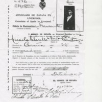 Alien Registration Certificate for Micaela Vilarelle de Viñas (Liverpool, 1918)