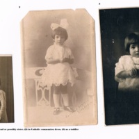 Rolindez Madariaga with friend or possibly sister, in catholic communion dress, as a toddler..jpg