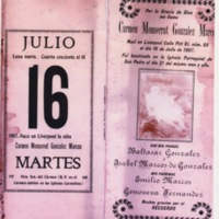 Birth/christening announcement (in Spanish) for Carmen Monserrat González Marcos (Liverpool, 1907)