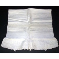 Pillow case, broderie anglaise edging, embroidered 'M[aria?] C[lemencot]'