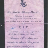 Death notice for Don Froilán Marcos González (Lugo, Galicia, Spain, 1895)